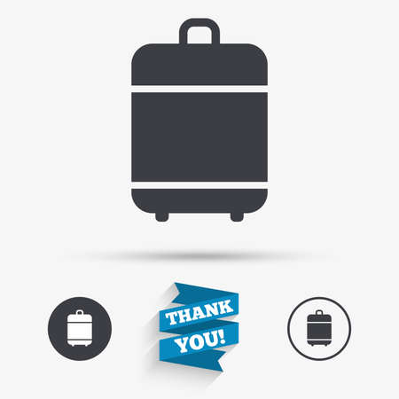 luggage bag: Travel luggage bag icon. Baggage symbol. Flat icons. Buttons with icons. Thank you ribbon. Vector