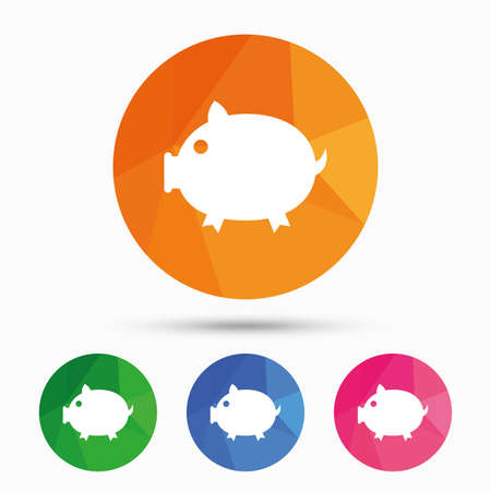 triangular eyes: Piggy sign icon. Pork symbol. Triangular low poly button with flat icon. Vector