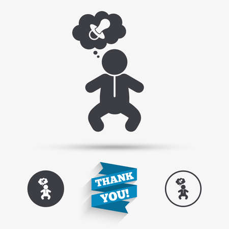 crawlers: Baby infant think about pacifier nipple sign icon. Toddler boy in pajamas or crawlers body symbol. Flat icons. Buttons with icons. Thank you ribbon. Vector Illustration