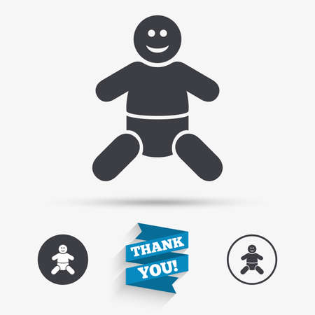 baby toilet: Baby infant sign icon. Toddler boy with diapers symbol. Child WC toilet. Flat icons. Buttons with icons. Thank you ribbon. Vector