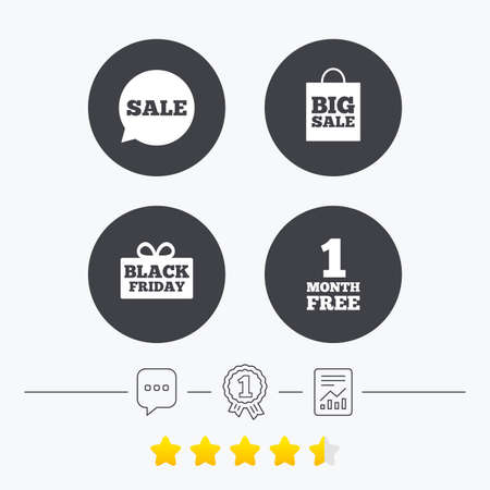 free vote: Sale speech bubble icon. Black friday gift box symbol. Big sale shopping bag. First month free sign. Chat, award medal and report linear icons. Star vote ranking. Vector Illustration