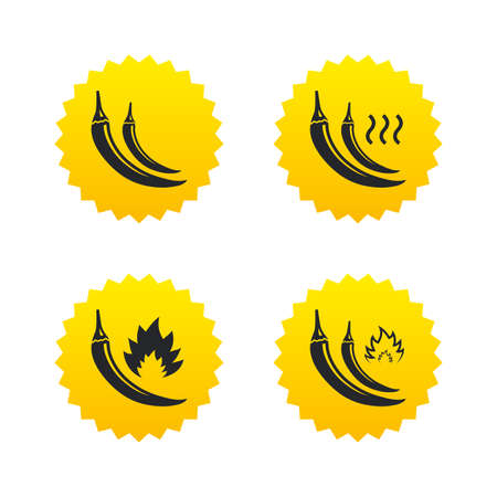 spicy: Hot chili pepper icons. Spicy food fire sign symbols. Yellow stars labels with flat icons. Vector