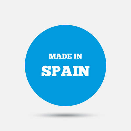 made in spain: Made in Spain icon. Export production symbol. Product created sign. Blue circle button with icon. Vector