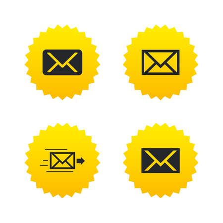 Mail envelope icons. Message delivery symbol. Post office letter signs. Yellow stars labels with flat icons. Vector Illustration