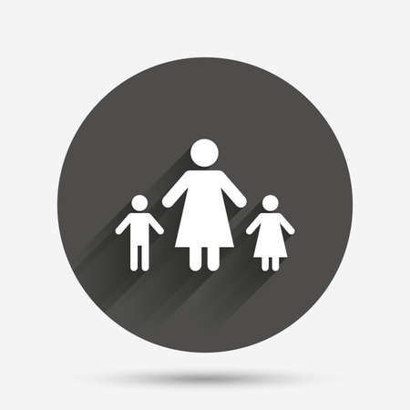 family with two children: One-parent family with two children sign icon. Mother with son and daughter symbol. Circle flat button with shadow. Vector