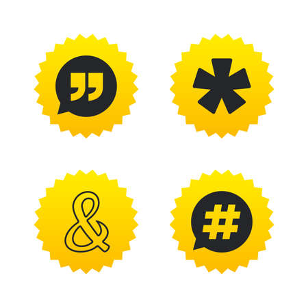 Quote, asterisk footnote icons. Hashtag social media and ampersand symbols. Programming logical operator AND sign. Speech bubble. Yellow stars labels with flat icons. Vector