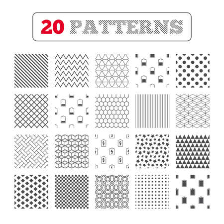 electrochemical: Ornament patterns, diagonal stripes and stars. Battery charging icons. Electricity signs symbols. Charge levels: full, half and low. Geometric textures. Vector Illustration