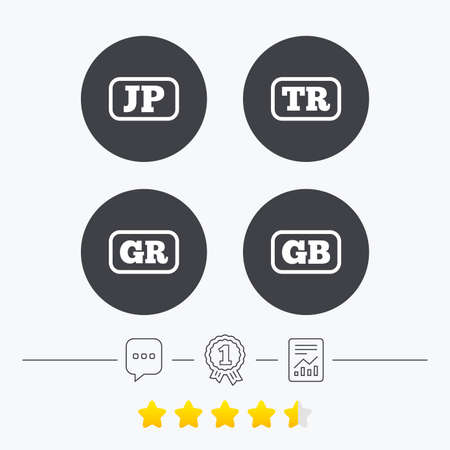 tr: Language icons. JP, TR, GR and GB translation symbols. Japan, Turkey, Greece and England languages. Chat, award medal and report linear icons. Star vote ranking. Vector