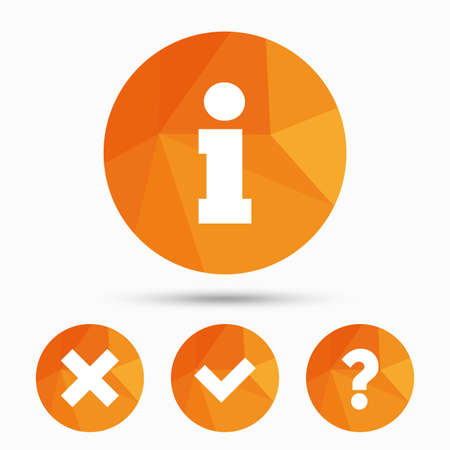 query: Information icons. Delete and question FAQ mark signs. Approved check mark symbol. Triangular low poly buttons with shadow. Vector