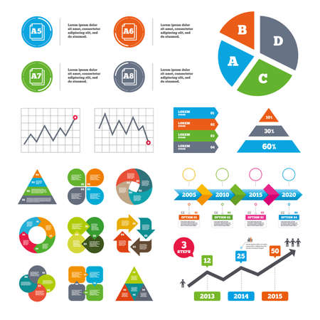 table sizes: Data pie chart and graphs. Paper size standard icons. Document symbols. A5, A6, A7 and A8 page signs. Presentations diagrams. Vector Illustration