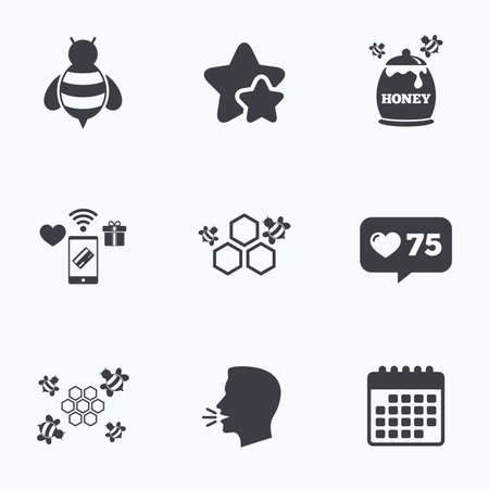 pollination: Honey icon. Honeycomb cells with bees symbol. Sweet natural food signs. Flat talking head, calendar icons. Stars, like counter icons. Vector