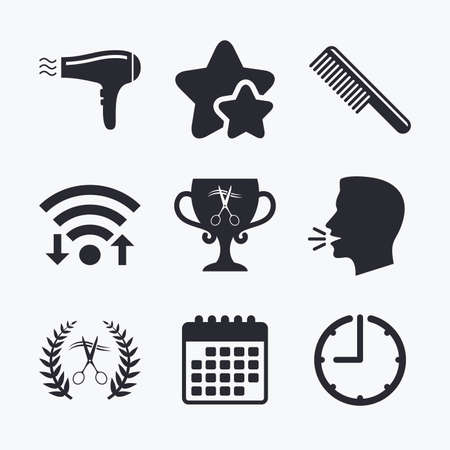 blow drying: Hairdresser icons. Scissors cut hair symbol. Comb hair with hairdryer symbol. Barbershop laurel wreath winner award. Wifi internet, favorite stars, calendar and clock. Talking head. Vector