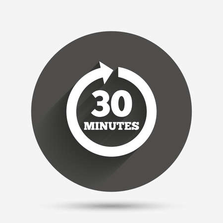 every: Every 30 minutes sign icon. Full rotation arrow symbol. Circle flat button with shadow. Vector Illustration