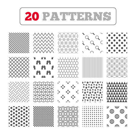 fullscreen: Ornament patterns, diagonal stripes and stars. Magnifier glass and globe search icons. Fullscreen arrows and binocular search sign symbols. Geometric textures. Vector Illustration