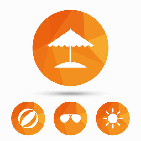 triangular eyes: Beach holidays icons. Ball, umbrella and sunglasses signs. Summer sun symbol. Triangular low poly buttons with shadow. Vector