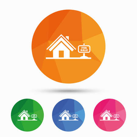 house for sale: Home sign icon. House for sale. Broker symbol. Triangular low poly button with flat icon. Vector Illustration