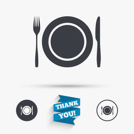 etiquette: Plate dish with fork and knife. Eat sign icon. Cutlery etiquette rules symbol. Flat icons. Buttons with icons. Thank you ribbon. Vector Illustration