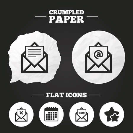 webmail: Crumpled paper speech bubble. Mail envelope icons. Message document symbols. Post office letter signs. Delete mail and SMS message. Paper button. Vector