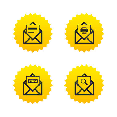 Mail envelope icons. Print message document symbol. Post office letter signs. Spam mails and search message icons. Yellow stars labels with flat icons. Vector