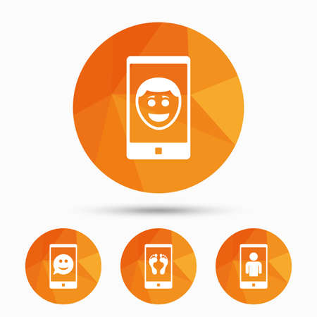 Selfie smile face icon. Smartphone video call symbol. Self feet or legs photo. Triangular low poly buttons with shadow. Vector