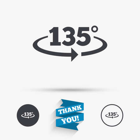 Angle 135 degrees sign icon. Geometry math symbol. Flat icons. Buttons with icons. Thank you ribbon. Vector