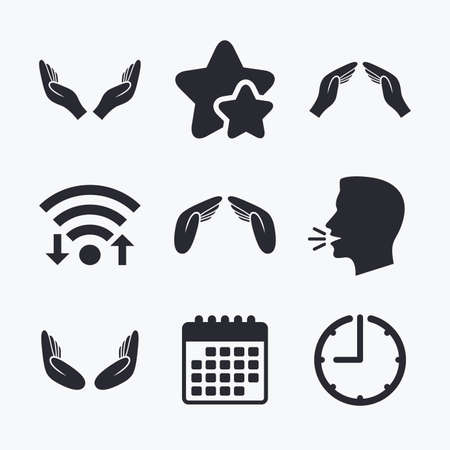 head protection: Hands icons. Insurance protection signs. Human helping donation hands. Prayer meditation hands sybmols. Wifi internet, favorite stars, calendar and clock. Talking head. Vector
