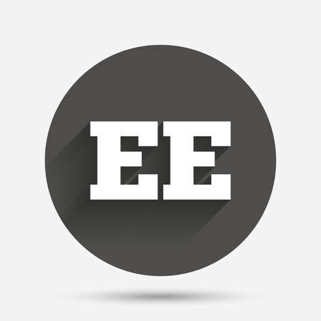 ee: Estonian language sign icon. EE translation symbol. Circle flat button with shadow. Vector