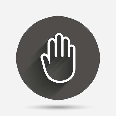 give me five: Hand sign icon. No Entry or stop symbol. Give me five. Circle flat button with shadow. Vector Illustration