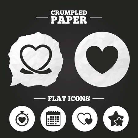 palpitation: Crumpled paper speech bubble. Heart ribbon icon. Timer stopwatch symbol. Love and Heartbeat palpitation signs. Paper button. Vector