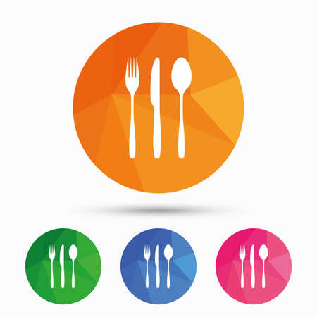 flatwares: Fork, knife, tablespoon sign icon. Cutlery collection set symbol. Triangular low poly button with flat icon. Vector