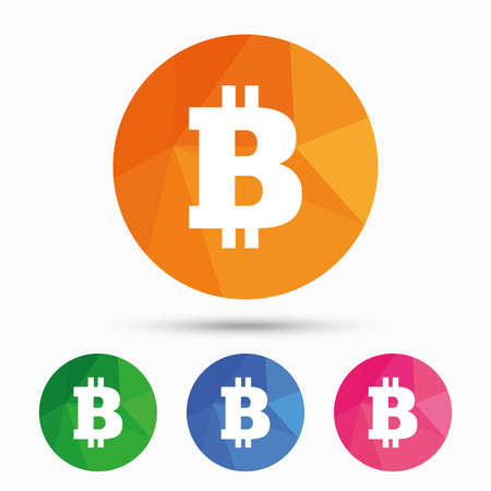 Bitcoin sign icon. Cryptography currency symbol. P2P. Triangular low poly button with flat icon. Vector Illustration