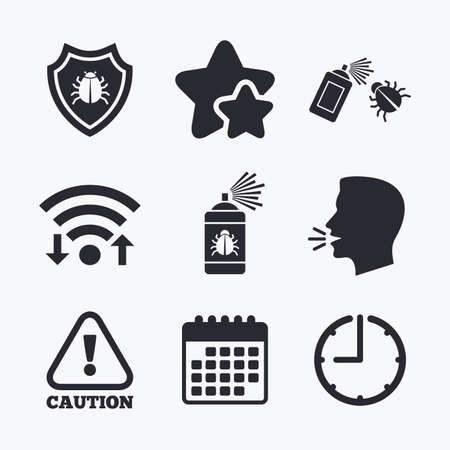 insanitary: Bug disinfection icons. Caution attention and shield symbols. Insect fumigation spray sign. Wifi internet, favorite stars, calendar and clock. Talking head. Vector Illustration