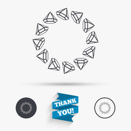 stamp seal: Jewelry sign icon. Diamonds circle symbol. Flat icons. Buttons with icons. Thank you ribbon. Vector