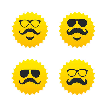 yellow hair: Mustache and Glasses icons. Hipster with beard symbols. Facial hair signs. Yellow stars labels with flat icons. Vector