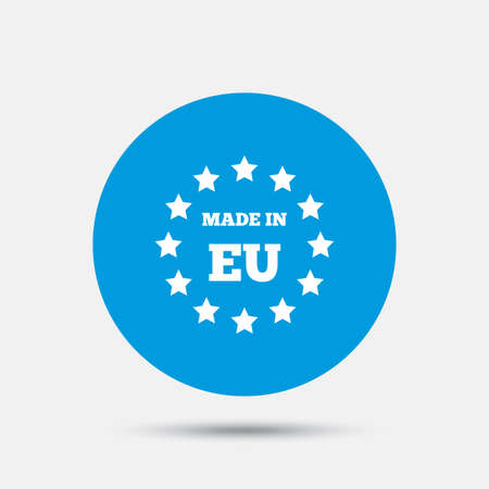 import trade: Made in EU icon. Export production symbol. Product created in European Union sign. Blue circle button with icon. Vector Illustration