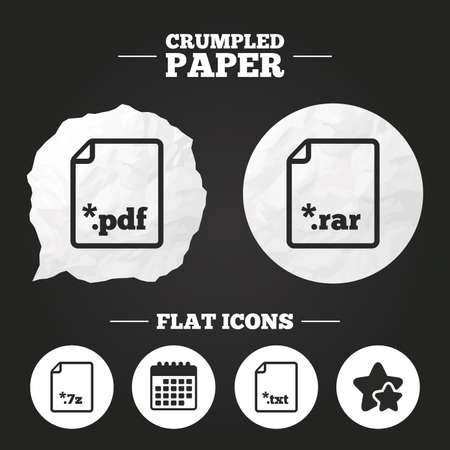 rar: Crumpled paper speech bubble. Download document icons. File extensions symbols. PDF, RAR, 7z and TXT signs. Paper button. Vector