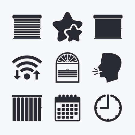 blinds: Louvers icons. Plisse, rolls, vertical and horizontal. Window blinds or jalousie symbols. Wifi internet, favorite stars, calendar and clock. Talking head. Vector