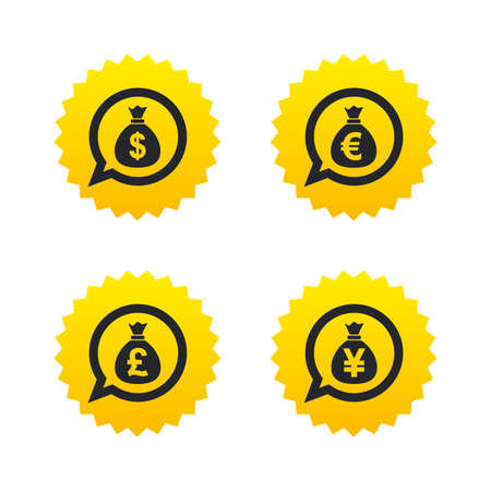 jpy: Money bag icons. Dollar, Euro, Pound and Yen speech bubbles symbols. USD, EUR, GBP and JPY currency signs. Yellow stars labels with flat icons. Vector