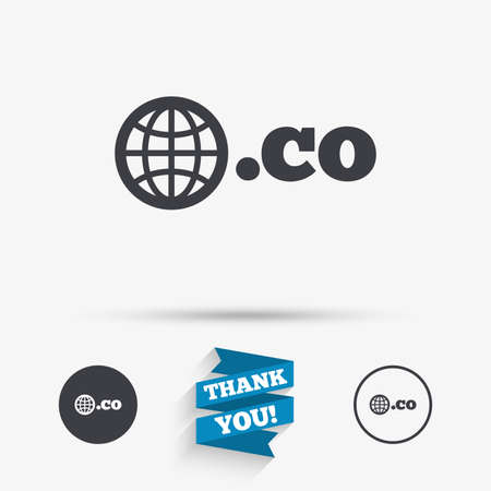 co: Domain CO sign icon. Top-level internet domain symbol with globe. Flat icons. Buttons with icons. Thank you ribbon. Vector