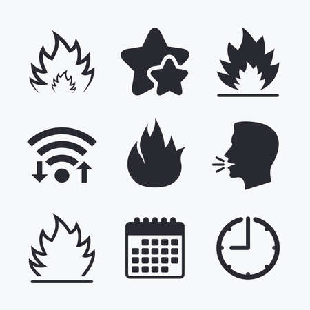 inflammable: Fire flame icons. Heat symbols. Inflammable signs. Wifi internet, favorite stars, calendar and clock. Talking head. Vector