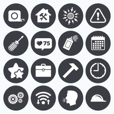 hammer head: Calendar, wifi and clock symbols. Like counter, stars symbols. Repair, construction icons. Helmet, screwdriver and hammer signs. Gears, painting spray and attention symbols. Talking head, go to web symbols. Vector