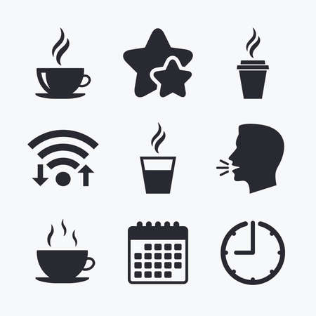 takeout: Coffee cup icon. Hot drinks glasses symbols. Take away or take-out tea beverage signs. Wifi internet, favorite stars, calendar and clock. Talking head. Vector