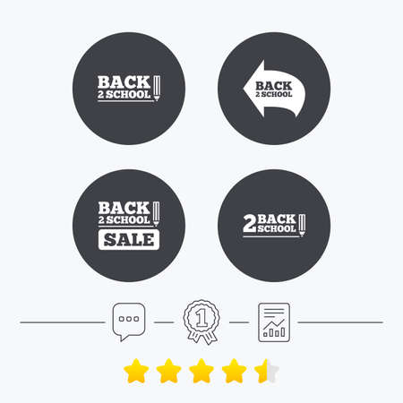 special education: Back to school sale icons. Studies after the holidays signs. Pencil symbol. Chat, award medal and report linear icons. Star vote ranking. Vector