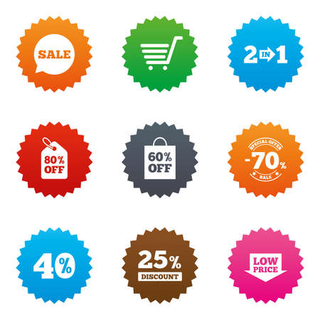 low price: Sale discounts icon. Shopping cart, coupon and low price signs. 25, 40 and 60 percent off. Special offer symbols. Stars label button with flat icons. Vector