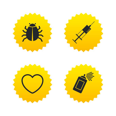 syringe injection: Bug and vaccine syringe injection icons. Heart and spray can sign symbols. Yellow stars labels with flat icons. Vector Illustration