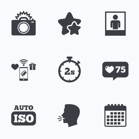 second: Photo camera icon. Flash light and Auto ISO symbols. Stopwatch timer 2 seconds sign. Human portrait photo frame. Flat talking head, calendar icons. Stars, like counter icons. Vector