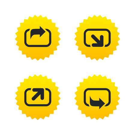 forward arrow: Action icons. Share symbols. Send forward arrow signs. Yellow stars labels with flat icons. Vector