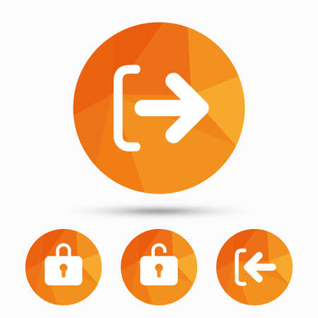 lock out: Login and Logout icons. Sign in or Sign out symbols. Lock icon. Triangular low poly buttons with shadow. Vector