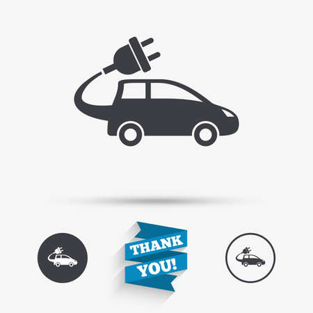 electric vehicle: Electric car sign icon. Hatchback symbol. Electric vehicle transport. Flat icons. Buttons with icons. Thank you ribbon. Vector