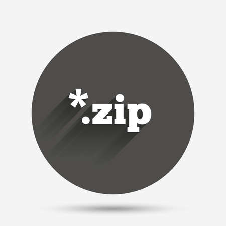 zipped: Archive file icon. Download compressed file button. ZIP zipped file extension symbol. Circle flat button with shadow. Vector